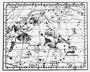 Constellations of Perseus carrying  the head of Medusa, Andromeda chained to a rock, and the Triangle. From JJ Fortin 'Atlas Coelestis de Flamsteed' Paris 1775. Copperplate engraving.