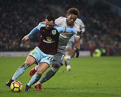 Phillip Bardsley of Burnley (L) and Anthony Martial of Manchester United in action - Mandatory by-line: Jack Phillips/JMP - 20/01/2018 - FOOTBALL - Turf Moor - Burnley, England - Burnley v Manchester United - English Premier League