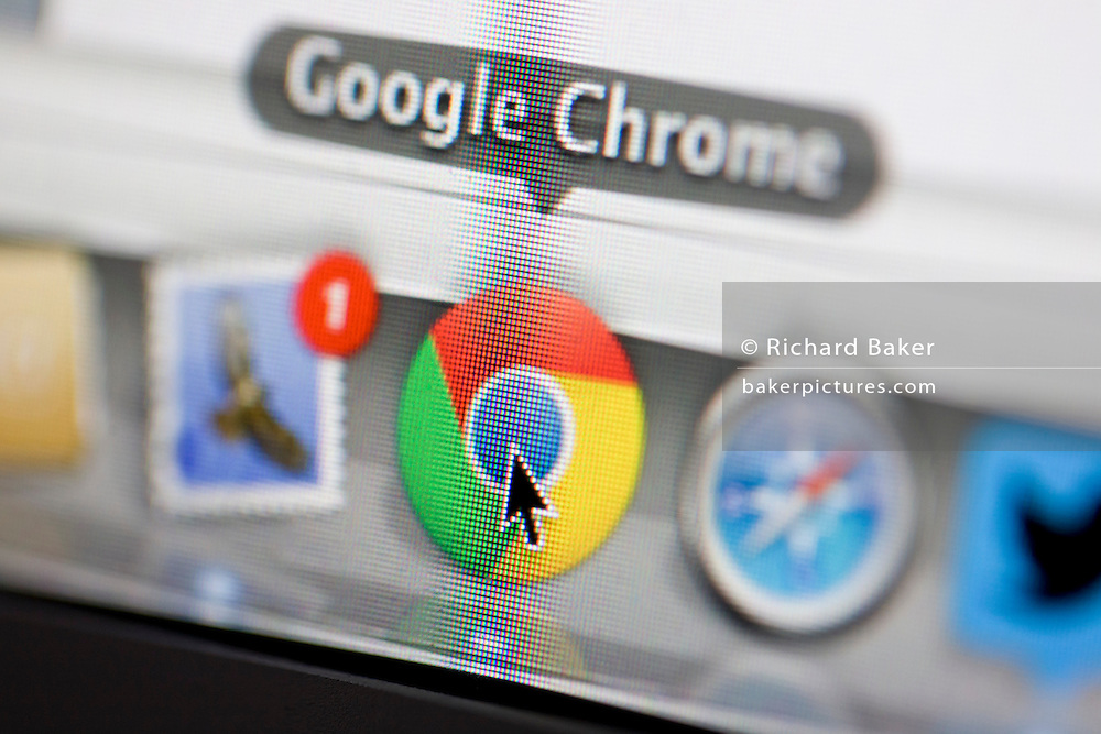 A detail from a computer screen of Google's Chrome browser icon.