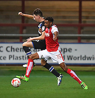 Fleetwood Town's Victor Nirennold battles with Blackburn Rovers' Joseph Rankin-Costello<br /> <br /> Photographer Dave Howarth/CameraSport<br /> <br /> The Checkatrade Trophy - Fleetwood Town v Blackburn Rovers U23 - Tuesday 30 August 2016 - Highbury Stadium - Fleetwood<br />  <br /> World Copyright © 2016 CameraSport. All rights reserved. 43 Linden Ave. Countesthorpe. Leicester. England. LE8 5PG - Tel: +44 (0) 116 277 4147 - admin@camerasport.com - www.camerasport.com