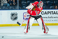 KELOWNA, BC - FEBRUARY 8: Joel Hofer #30 of the Portland Winterhawks clears the puck from the zone against the Kelowna Rockets at Prospera Place on February 8, 2020 in Kelowna, Canada. Hofer was selected in the 2018 NHL entry draft by the St. Louis Blues and is a IIHF World Junior Championship gold medalist. (Photo by Marissa Baecker/Shoot the Breeze)