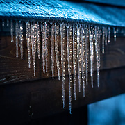 Icicles in the early morning in Hokkaido, Japan