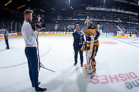 REGINA, SK - MAY 22: Kaden Fulcher #33 of Hamilton Bulldogs is interviewed on the ice after the game against the Acadie-Bathurst Titan at the Brandt Centre on May 22, 2018 in Regina, Canada. (Photo by Marissa Baecker/CHL Images)