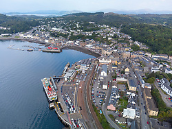 Aerial view from drone of ferry terminal and skyline of  Oban, Argyll and Bute, Scotland, UK