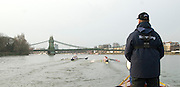 London, Great Britain. Oxford, OUBC [Blue Boat] v. Leander Club, view from the Umpires Launch, as Oxford pass Leander, as the crews approach Hammersmith Bridge, Pre Boat race fixture over the Championship Course  River Thames. Single race piece - Putney to Chiswick Pier.  on Saturday  12/03/2011 [Mandatory Credit; Karon Phillips/Intersport Images]..Crews:.Oxford OUBC: Bow Moritz HAFNER, Ben MYERS, Dave WHIFFIN,  Ben ELLISON,  Karl HUDSPITH,  Alec DENT,  George WHITTAKER, Stroke Constantine LOULOUDIS, Cox Sam WINTER-LEVY. ..Leander: Bow Oliver HOLT,  Will GRAY,  Graham HALL,  John CLAY,  James ORME,  Tom CLARK,  Ben DUGGAN, Stroke David LAMBOURN, Cox Alex OLIJNYK..