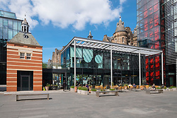 View of restaurants and bars at new Quartermile luxury residential property development in Edinburgh, Scotland, UK.