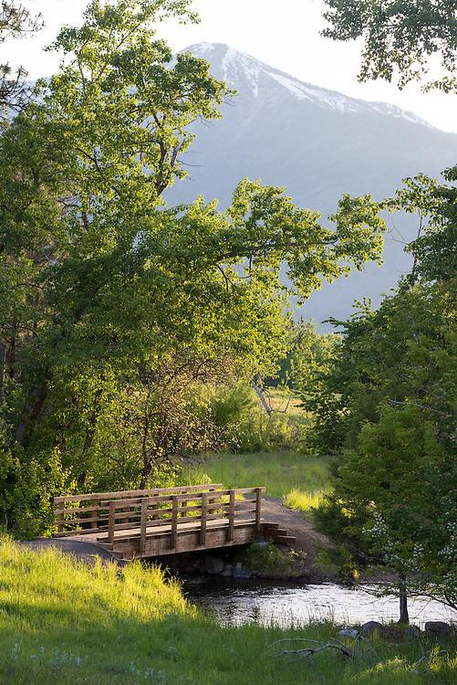 Footbridge over irrigation ditch, Iwetemlaykin Heritage Site, Oregon.