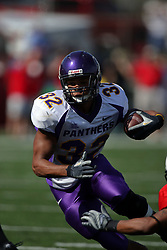 29 September 2007: Darian Williams sprints cut back to avoid the opposition.  In action between the Northern Iowa Panthers and the Illinois State Redbirds, the Panthers chewed up the Redbirds by a score of 23 - 13. Game action commenced at Hancock Stadium on the campus of Illinois State University in Normal Illinois..