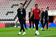 Dominic Solanke and Demari Gray walking the pitch at the Vitality Stadium before the U21 International match between England and Germany at the Vitality Stadium, Bournemouth, England on 26 March 2019.