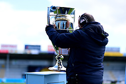 The Gallagher Premiership Trophy is prepared for TV prior to kick off at Sandy Park - Mandatory by-line: Ryan Hiscott/JMP - 10/10/2020 - RUGBY - Sandy Park - Exeter, England - Exeter Chiefs v Bath Rugby - Gallagher Premiership Rugby Semi-Final
