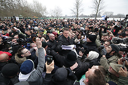 """© Licensed to London News Pictures . 18/03/2018 . London , UK . Alt-right groups , including Generation Identity , and antifascist opponents , demonstrate at Speakers' Corner in Hyde Park where Tommy Robinson is to read a speech by Generation Identity campaigner Martin Sellner . Along with Brittany Pettibone , Sellner was due to deliver the speech last week but the pair were arrested and detained by police when they arrived in the UK , forcing them to cancel an appearance at a UKIP """" Young Independence """" youth event , which in turn was reportedly cancelled amid security concerns . Photo credit: Joel Goodman/LNP"""