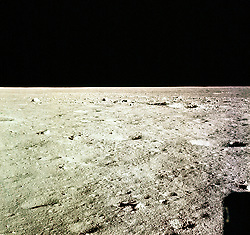 The Moon - (FILE) -- This picture was taken from the Apollo 11 LM window during the descent to the lunar surface shortly before landing. It shows the area of the Moon near the touchdown point in the Sea of Tranquility. Landing occurred on Sunday, July 20, 1969 at 20:18 UT (4:18 p.m. EDT) at 00.57 S, 23.49 E. The view is to the north. Photo by CNP/ABACAPRESS.COM