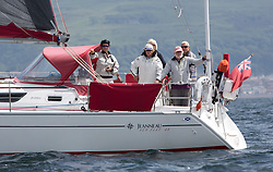International Dragon Class Scottish Championships 2015.<br /> <br /> Day 1 racing in perfect conditions.<br /> <br /> Spectators onboard Aztec<br /> <br /> <br /> Credit Marc Turner