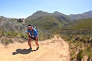 A Fairview Attakwas Trail runner grinds his way up the climb, past the old English blockhouse towards the Attakwaskloof Neck.