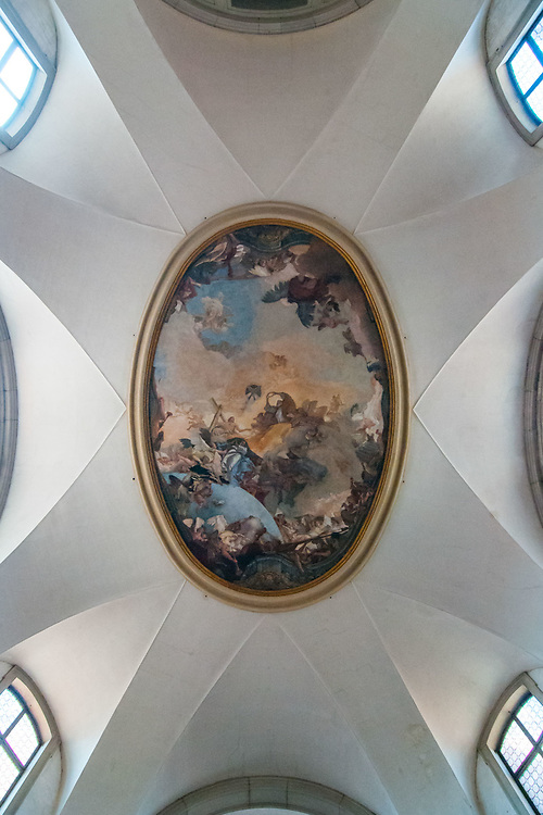 The restored fresco of Tiepolo, dated 1755, is seen at Chiesa della Pietà on July 12, 2017 in Venice, Italy. Chiesa della Pietà has just opened to the public the restored fresco of Tiepolo with the original colors and a museum with original documents of the institution clled La Pietà that in the past hosted abandoned children, and also with original musical instruments used by Vivaldi to teach to the children. ©Simone Padovani