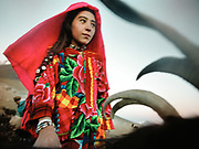 Gul, a Wakhi girl holds on to her goats during the evening milking, a daily routine. Warm settlement, Waramdeh Valley.<br /> <br /> Adventure through the Afghan Pamir mountains, among the Afghan Kyrgyz and into Pakistan's Karakoram mountains. July/August 2005. Afghanistan / Pakistan.