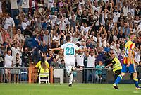 Real Madrid's Marco Asensio celebrating a goal during La Liga match between Real Madrid and Valencia CF at Santiago Bernabeu Stadium in Madrid, Spain August 27, 2017. (ALTERPHOTOS/Borja B.Hojas)