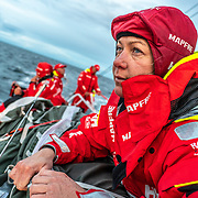 Leg 11, from Gothenburg to The Hague, day 01 on board MAPFRE, Sophie Ciszek with tired face. 21 June, 2018.
