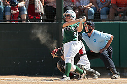 09 May 2014:  Sara Daley bats, Maddie Dieleman catches during an NCAA Division III women's softball championship series game between the Lake Forest Foresters and the Illinois Wesleyan Titans in Bloomington IL
