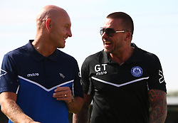 August 28, 2017 - London, United Kingdom - L-R Mark Stimson manager  of Thurrock FC and Glenn Tamplin manager of Billericay Town.during Bostik League Premier Division match between Thurrock vs Billericay Town at  Ship Lane Ground, Aveley on 28 August 2017  (Credit Image: © Kieran Galvin/NurPhoto via ZUMA Press)