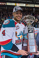KELOWNA, CANADA - MAY 13: WHL Kelowna Rockets Captain Madison Bowey stands with the WHL Championship Trophy on May 13, 2015 during game 4 of the WHL final series at Prospera Place in Kelowna, British Columbia, Canada.  (Photo by Marissa Baecker/Shoot the Breeze)  *** Local Caption *** Madison Bowey;