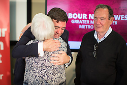 © Licensed to London News Pictures . 09/08/2016 . Salford , UK . ANDY BURNHAM MP hugs his mother EILEEN , watched by his father ROY , after he is selected as Labour's candidate in the race to be the Mayor of Greater Manchester . He and fellow candidates Ivan Lewis and Tony Lloyd were at an event at The Landing in Media City , Salford , for the declaration . Photo credit : Joel Goodman/LNP