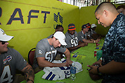 January 27 2016: Dallas Cowboys Sean Lee signs an autograph during the Pro Bowl Draft at Wheeler Army Base on Oahu, HI. (Photo by Aric Becker/Icon Sportswire)