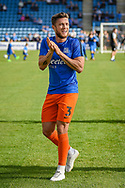 Southend United defender Ben Coker applauds the fans (3) during the EFL Sky Bet League 1 match between Gillingham and Southend United at the MEMS Priestfield Stadium, Gillingham, England on 13 October 2018.