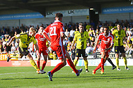 Burton Albion midfielder Jamie Allen (4) shoots at goal during the EFL Sky Bet League 1 match between Burton Albion and Scunthorpe United at the Pirelli Stadium, Burton upon Trent, England on 29 September 2018.