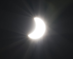 August 21, 2017 - San Clemtente, California, U.S - A direct  view of the sun from planet earth as seen from southern California on Monday morning.-------A sola eclipse put the United States in partial to nearly full shadow beginning on Monday morning.  A solar eclipse can be seen using special glasses directly although it can also be seen indirectly by cutting a small, about 5 millimeters or roughly 1/8 of an inch in diameter, hole in a card which can then project the moon's shadow over the sun when held a few feet from a flat surface. (Credit Image: © David Bro via ZUMA Wire)