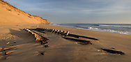 A winter storm washed the remains of a shipwreck onto Newcomb Hollow Beach in Wellfleet.