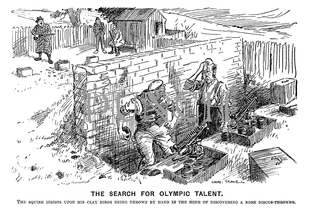 The seach for olympic talent. The squire insists upon his clay birds being thrown by hand in the hope of discovering a born discus-thrower.