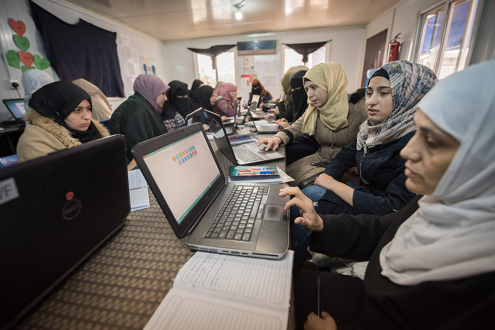 20 February 2020, Za'atari Camp, Jordan: Computer class in the Peace Oasis, a Lutheran World Federation space in the Za'atari Camp where Syrian refugees are offered a variety of activities on psychosocial support, including counselling, life skills trainings and other activities.