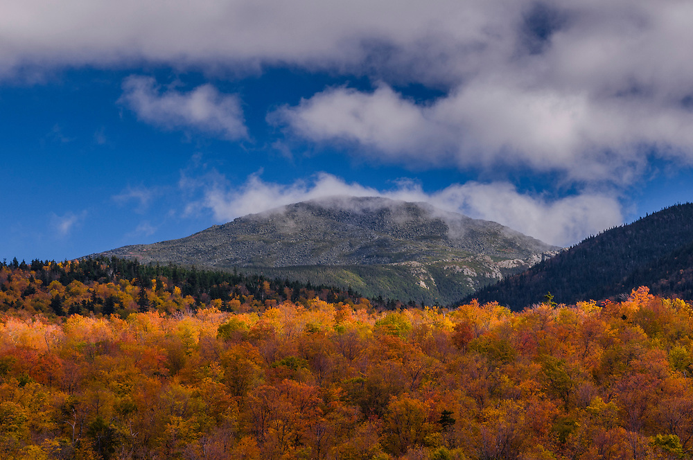 Mt Madison in and out of clouds with fall colors foreground, Randolph, NH