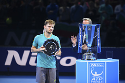 November 19, 2017 - London, England, United Kingdom - David Goffin with his 2017 runner-up trophy at O2 Arena on November 19, 2017 in London, England. (Credit Image: © Alberto Pezzali/NurPhoto via ZUMA Press)