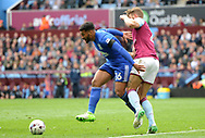 David Davis of Birmingham battles with Nathan Baker of Aston Villa .EFL Skybet championship match, Aston Villa v Birmingham city at Villa Park in Birmingham, The Midlands on Sunday 23rd April 2017.<br /> pic by Bradley Collyer, Andrew Orchard sports photography.