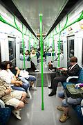 Scene on a London Underground District Line Train.