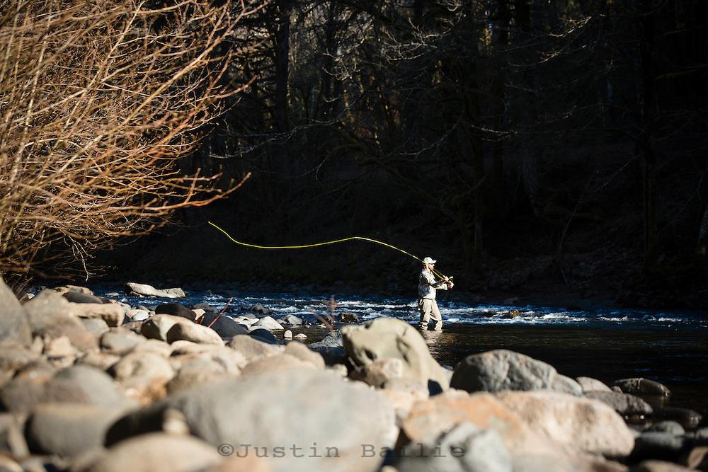 Fly fishing along the Wilson River, near Tillamook, Oregon.