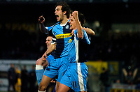 Photo: Alan Crowhurst.<br />Wycombe Wanderers v Stockport County. Coca Cola League 2. 28/01/2006. <br />Ian Stonebridge (R) celebrates his goal for Wycombe with Roger Johnson.