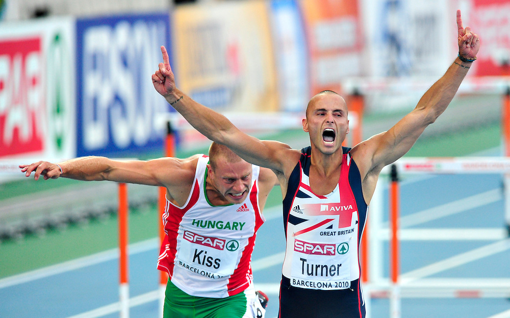 Great Britain's Andy Turner celebrates after winning the men's 110m hurdles final at the 2010 European Athletics Championships at the Olympic Stadium in Barcelona.