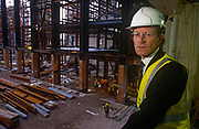 A portrait of Tate Director Nicholas (Nick) Serota during the redevelopment phase of the Turbine Hall at the former power station now known as Tate Modern art gallery, on 6th March 1998, on London's Southbank, England.