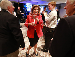 Rep. Karen Handel, (R-Ga.), 6th Congressional District, thanks supporters while making an early appearance at her election watch party on Tuesday, Nov. 6, 2018, in Atlanta. Photo by Curtis Compton/Atlanta Journal-Constitution/TNS/ABACAPRESS.COM