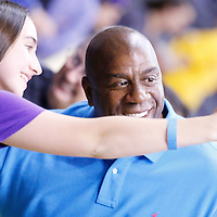 18 May 2014: Los Angeles Sparks owner Magic Johnson is seen posing with a fan during the Phoenix Mercury 74-69 victory over the Los Angeles Sparks, at the Staples Center, Los Angeles, California, USA.