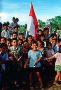 Children with flag, Jakarta, Indonesia