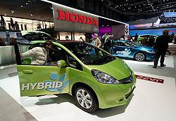 Honda  hybrid cars on display at the Geneva Motor Show 2011 Switzerland