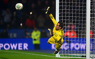 Goalkeeper Claudio Bravo of Manchester City makes a save in the penalty shootout .Carabao Cup quarter final match, Leicester City v Manchester City at the King Power Stadium in Leicester, Leicestershire on Tuesday 19th December 2017.<br /> pic by Bradley Collyer, Andrew Orchard sports photography.
