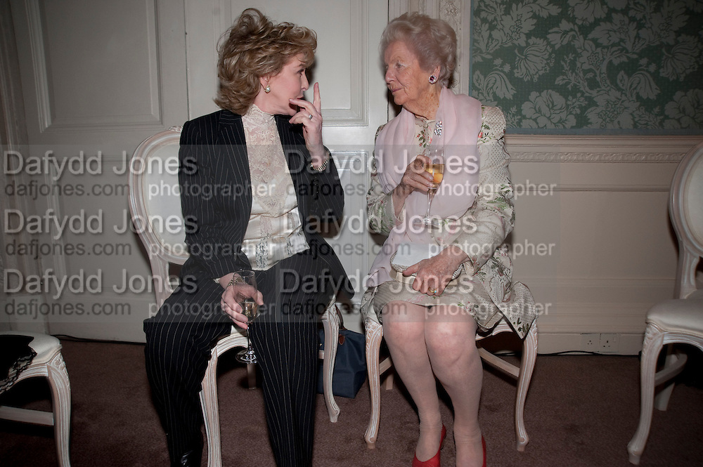 PATRICIA HODGE; THE DOWAGER DUCHESS OF DEVONSHIRE, The Dowager Duchess od Devonshire and Catherine Ostler editor of the Tatler host a party to celebrate Penguin's reissue of Nancy Mitford's ' Wigs on the Green.'  The French Salon. Claridge's. London. 10 March 2010.