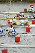 Munich, GERMANY, 30.08.2007,  Start of the Men's  Pair  Semi-Final, AUS M2-, Bow, Drew GINN and Duncan FREE. German Pair break a blade.  Fifth day, at the 2007 World Rowing Championships, taking place on the   Munich Olympic Regatta Course, Bavaria. [Mandatory Credit. Peter Spurrier/Intersport Images]..... , Rowing Course, Olympic Regatta Rowing Course, Munich, GERMANY