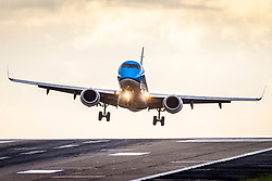 © Licensed to London News Pictures. 23/09/2021. Leeds UK. A KLM aircraft arriving from Amsterdam struggles to land in strong winds at Leeds Bradford International Airport this morning. Photo credit: Andrew McCaren/LNP