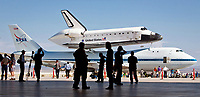 People cool off in the shade after viewing Endeavor at Edwards Air Force Base, CA.  September 20,  2012. Photo by David Sprague